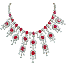 HARRY WINSTON Diamond and Burma Ruby Necklace