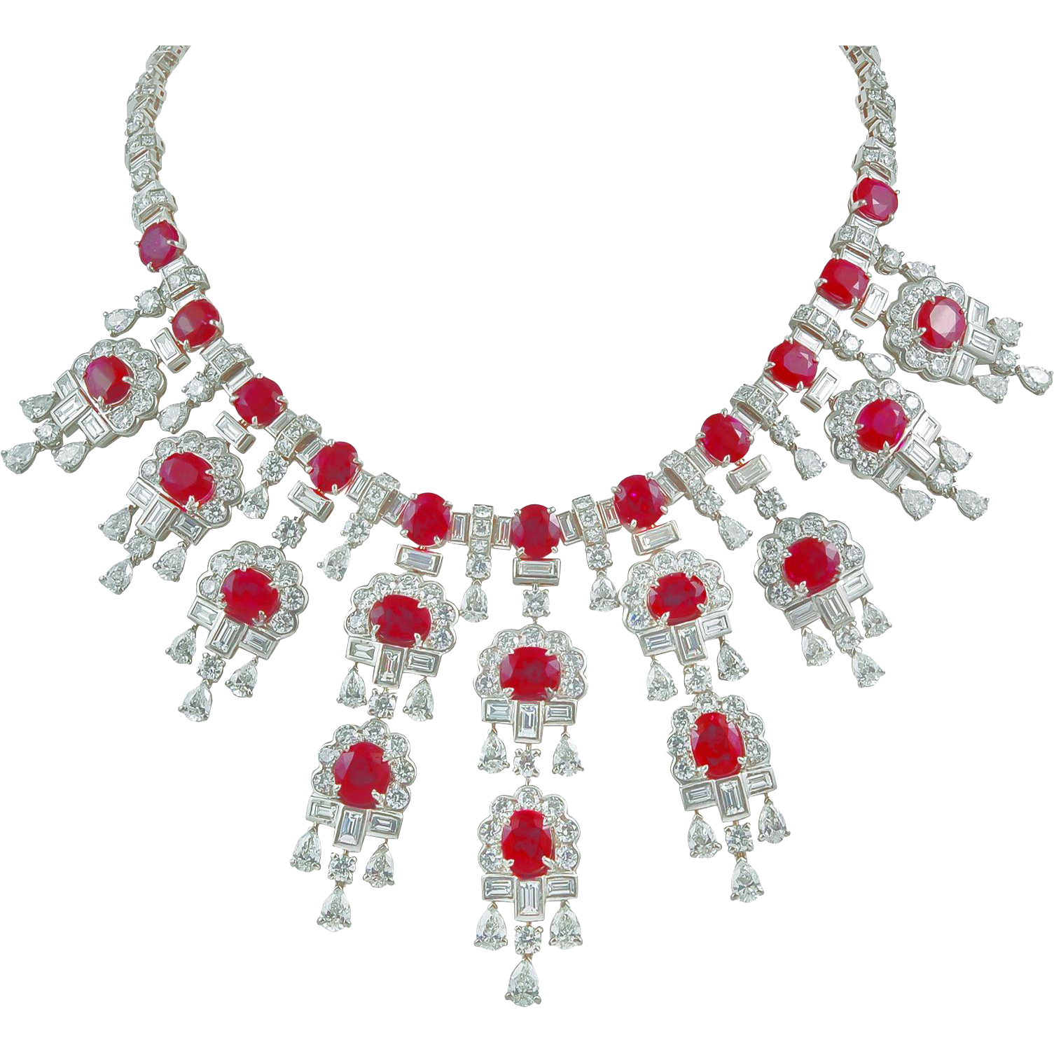 Harry Winston Diamond And Burma Ruby Necklace From Yafa