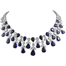 GRAFF Platinum Diamond and Sapphire Necklace