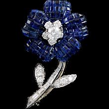 VAN CLEEF & ARPELS Mystery-set Diamond & Sapphire Flower Pin