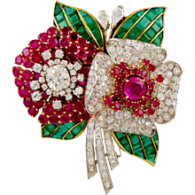 Art Deco Diamond,Ruby & Emerald Flower Brooch