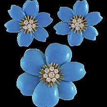 VAN CLEEF & ARPELS Diamond and Turquoise Rose de Noel Brooch Suite