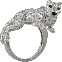 CARTIER Diamond and Emerald Eyes, Onyx Panthere Ring