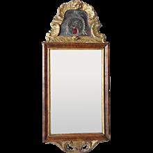 Small Scandinavian Rococo Parcel Gilt Walnut and Eglomise Mirror