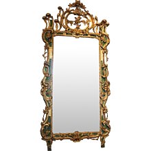 Important Italian Rococo Gilt and Painted Diamond Dust Mirror