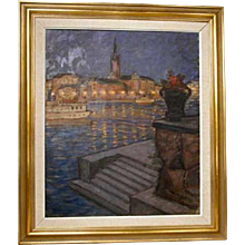 GUNNAR EMIL WEINBERG Oil on Canvas Painting, Copenhagen Harbor