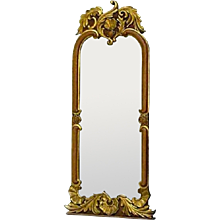 Scandinavian Rococo Style Parcel Gilt Pine and Oak Wall Mirror
