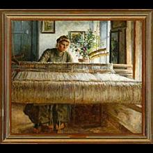 JOHANNES WILHJELM Original Oil on Canvas Painting, Anna at the Loom 1908