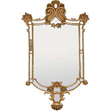 Large French Rococo Revival Gilt Pine Mirror