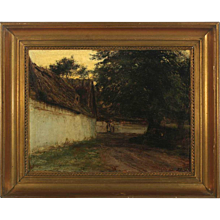 KNUD ERIK LARSEN Oil on Canvas Painting, Farm Exterior
