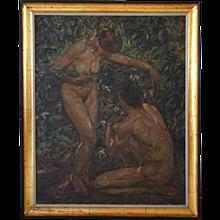 Large KNUD OVE HILKIER Oil on Canvas Painting, Adam & Eve