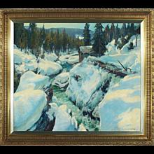 PEDER KNUDSEN Oil on Canvas Painting, Danish Winter Landscape