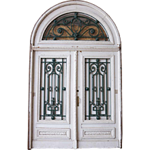 Argentine Belle Epoque Painted Mahogany and Iron Double Door and Transom