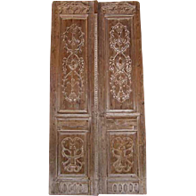 Antique Pair of Monumental Scale French Colonial Pine Double Doors 12 ft.