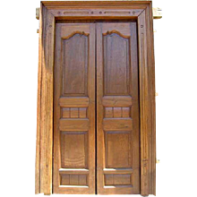 Large Antique  Indian Solid Teak Double Door with Frame