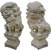 Pair of Chinese Shanxi Province Stone Foo Dog Statues