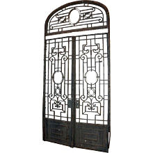 Grand French Colonial Wrought Iron Double Door Gate