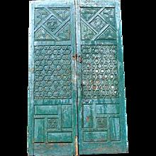 Large 9 ft. Antique Moorish Original  Painted Pine Pair of  Double Doors