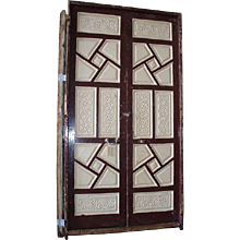 "Large Antique 116 "" Moorish Painted Carved Pine Double Door"