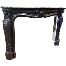 French Louis XV Style Black Marble Fireplace Surround