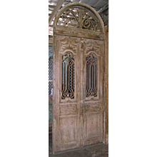 Large Antique French Colonial Pine and Iron Exterior Beaux Arts  Double Door with Arched Transom