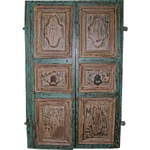 Antique Pair of  Indo-Portuguese Painted Heavy Solid Teak Double Doors