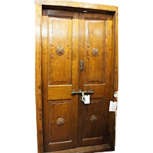 Large Antique Indo-Portuguese Teak Double Interior Door with Frame