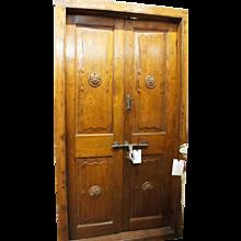 Large Antique Indo-Portuguese Teak Double Interior Door with Frame