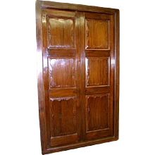 Large Antique Anglo Indian Solid Teak Double Interior Door with Frame