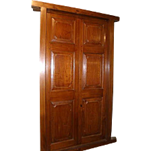 Antique Large English Georgian Style Paneled Solid Teak Double Interior Door with Frame