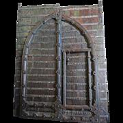 Grand Indo-Portuguese Iron Mounted Painted Teak Gate