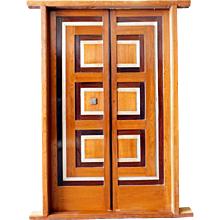 Modernist Teak, Rosewood and Aluminum Paneled Double Door with Frame