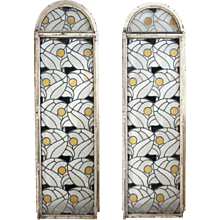 Pair of English Art Deco Steel Frame and Textured Glass Leaded Windows