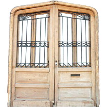 Large Argentine Cedar (Mahogany) Wrought Iron Panel Double Door