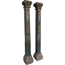 Pair of Anglo Indian Painted Teak and Limestone Pillars