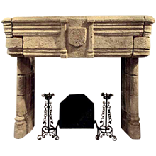 Important Antique French Late Gothic Limestone Fireplace Surround Mantel