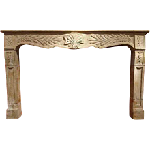 French Provincial Louis XV Limestone Fireplace Surround