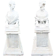 Pair of Louis XVI Style Composition Stone Sphinxes on Bases