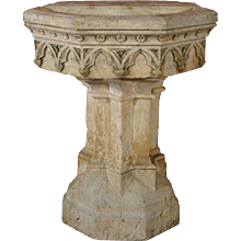 French Gothic Revival Hard Stone Fountain Pedestal Basin