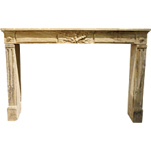 French Louis XVI Limestone Fireplace Surround