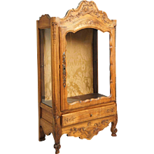French Louis XV-XVI Revival Walnut Table-Top Vitrine Cabinet
