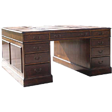 English George III Style Walnut Veneer Partners Desk