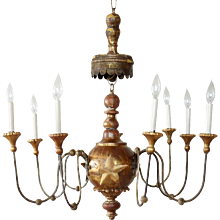 Early Italian Wood and Iron 10-Light Chandelier with Mica Shades