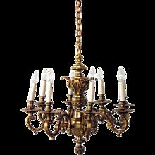 French Louis XIV Style Ormolu Bronze Eight-Light Chandelier