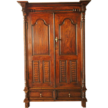 Indo-Portuguese Teak and Rosewood Almirah Cabinet