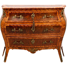 Swedish Rococo Ormolu and Walnut Veneer Parquetry Bombe Commode