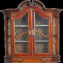 Northern German Mahogany Veneer Hanging Display Cabinet