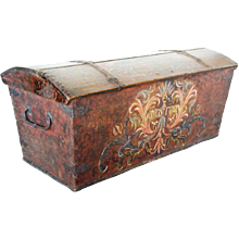 Swedish Allmoge Iron Mounted Painted Oak Dome Top Bride's Trunk