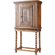 Small Danish Baroque Oak Side Cabinet on Stand