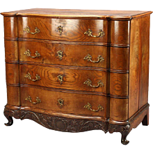 Danish Rococo Elm Serpentine Chest of Drawers